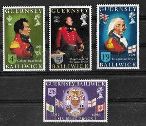 Great Britain-Guernsey # 24-27 Sir Isaac Brock   (4) Mint NH