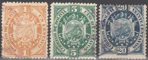 Bolivia #40, 42, 44  F-VF Used  CV $10.50 (C7731)