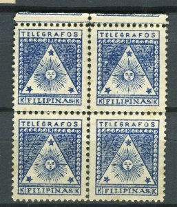 PHILIPPINES; 1898-99 early Telegrafos issue mint hinged 5c. BLOCK