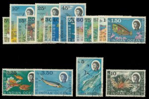 B.I.O.T. 1968 QEII Definitives set complete very fine used. SG 16-30. Sc 16-33.
