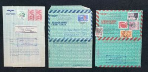 COLOMBIA - three Aerogrames mailed to the USA - c 1959-1960