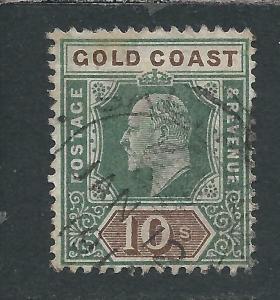 GOLD COAST 1902 10s GREEN & BROWN FU SG 47 CAT £160