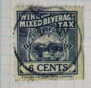 US state of Ohio OH Wine Mixed Beverage tax stamp 6c Columbian Bank note co