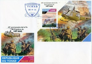 CHAD  2020 45th ANN OF THE END OF THE VIETNAM WAR SOUVENIR SHEET FIRST DAY COVER