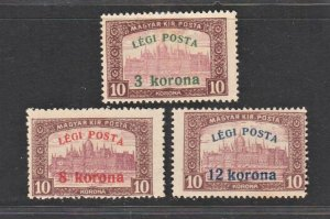 Hungary 1920 Surcharged as Airmail (3v Cpt) MLH CV$10