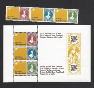 New Zealand, 701-03,703a, NZ Postage Stamps Sgls. & S/S, MNH
