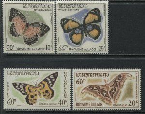 Laos 4 Butterfly values mint o.g. hinged