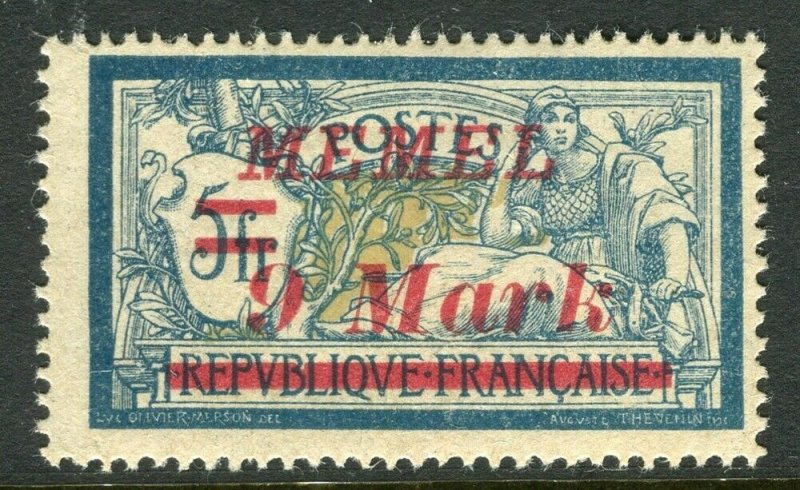 MEMEL; 1922 early surcharged issue Mint hinged 9M. value