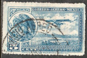 MEXICO C20, 5¢ COAT OF ARMS AND AIRPLANE. USED.F-VF. (35)