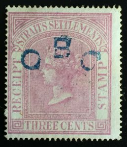 Malaya Straits Settlements QV Fiscal/Revenue 3c Receipt Stamp Used P.15.5 M2303
