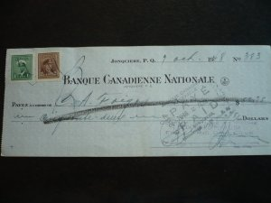 Canada - Revenue - KGVI War Issue Stamps on cheque dated 1948