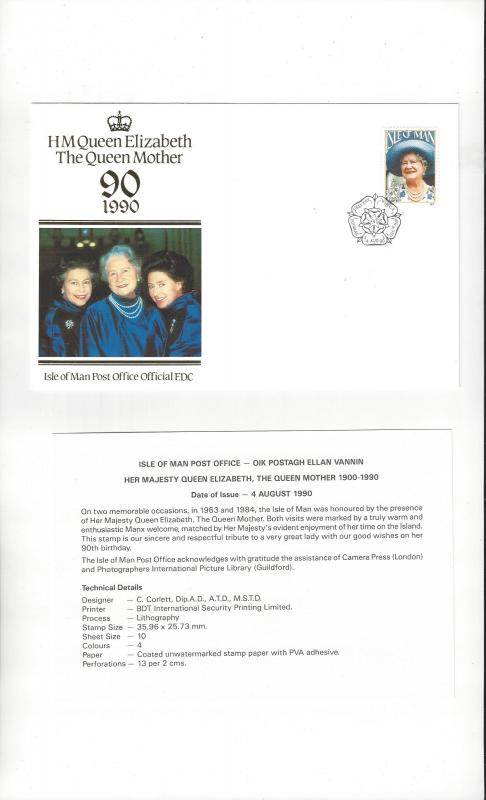 Isle of Man 425 Queen Elizabeth Mother 90th Birthday 1990  Official FDC