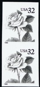 2492 32¢ Rose Imperforate and With Color Omitted Vertical Pair - Stuart Katz