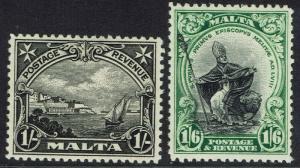 MALTA 1930 PICTORIAL 1/- AND 1/6 INSCRIBED POSTAGE & REVENUE