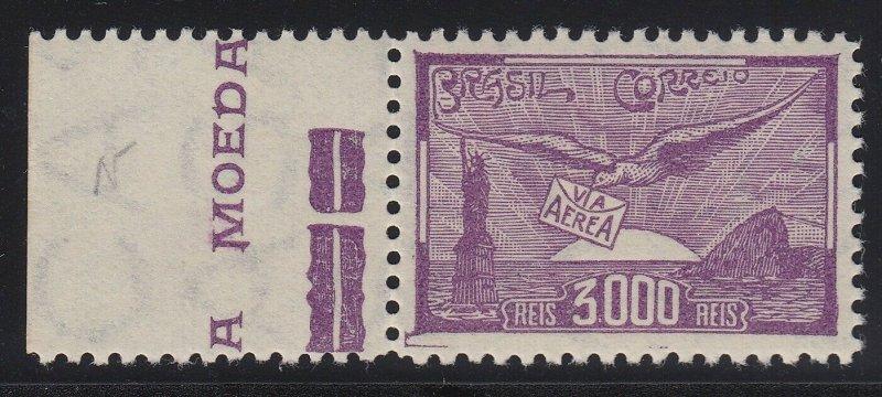 Brazil 1929 3000r Violet MNH Marginal. Scott C25