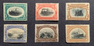 US #294-299 MNH OG (299-MLH). 1901 1c Pan-American Exposition, set of 6 stamps.