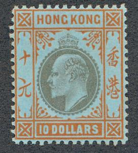 HONG KONG 85 MINT LH $10 KING EDWARD, WMK CA