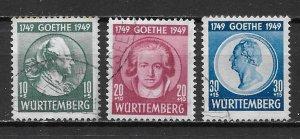 Germany (Wurttemberg) 8NB9-11 Goethe set Used