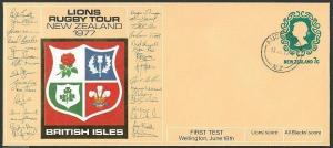 NEW ZEALAND 1977 7c PTPO envelope Lions Rugby Tour : Br Isles..............44188