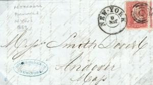 NETHERLANDS Rotterdam USA Boston Forwarded New York 1862 {samwells-covers} S181