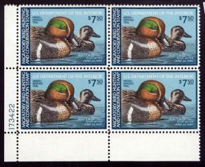 U.S. #RW46 Superb-98 Plate Block of 4 Federal Duck Stamp Green Winged Teal, MNH