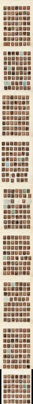 1841 Penny Reds on Old Album Pages inc Many better (481 Stamps)