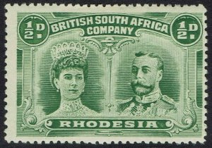 RHODESIA 1910 KGV DOUBLE HEAD 1/2D PERF 14