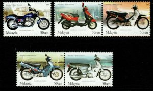 MALAYSIA SG1157/61 2003 MOTORCYCLES AND SCOOTERS MNH