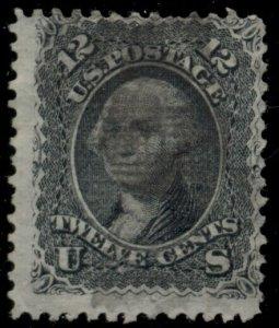 US #90, 12¢ black E Grill, used, light corner crease, scarce, Scott $375.00