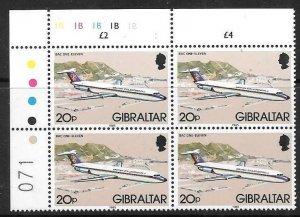 GIBRALTAR SG469 1982 20p AIRCRAFT BLOCK OF 4  MNH