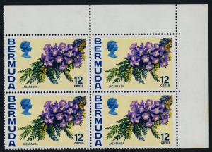Bermuda 263a TR Block (Inverted Water Mark) MNH Flowers, Jacaranda