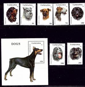 Tanzania 1144-51 MNH 1993 Dogs