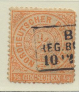 North German Confederation Stamp Scott #15, Used, Thin - Free U.S. Shipping, ...