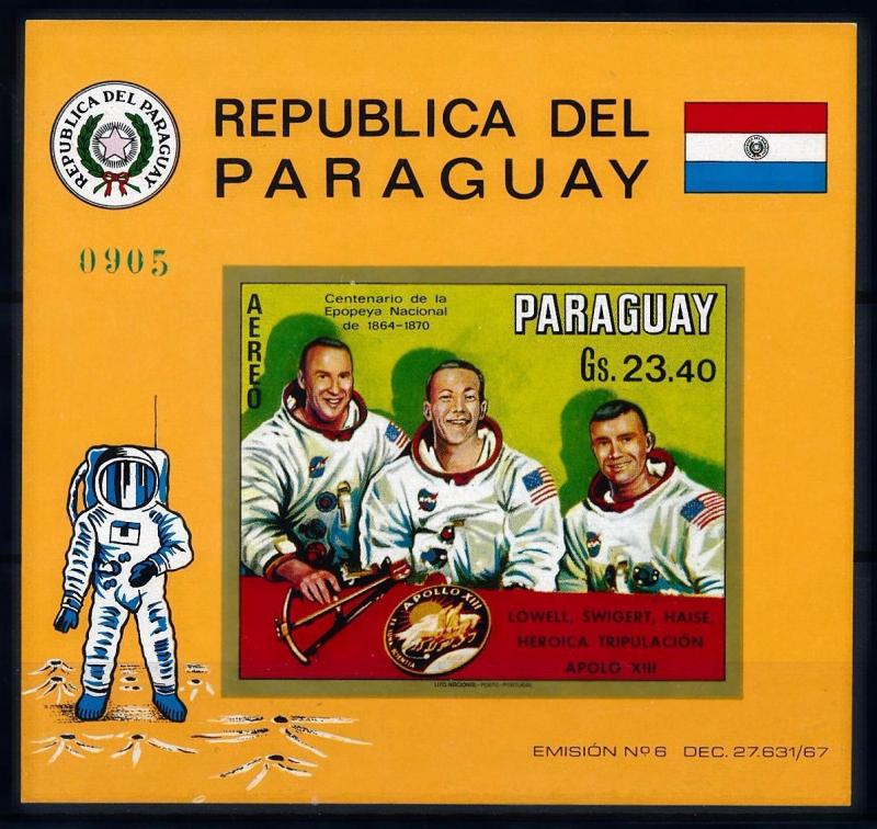 [66063] Paraguay 1970 Space Travel Weltraum Apollo 13 Imperf. Sheet MNH
