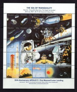 Palau  #218 (1989 Moon Landing sheet) VFMNH CV $12..00
