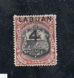 BORNEO/LABUAN # 88 VF-MH SURCHARGE 4cts CAT VALUE $30