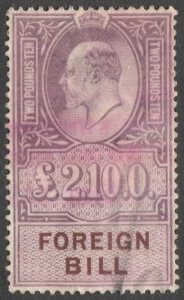 GB KEVII £2 10sh Foreign Bill Revenue stamp, Used VF