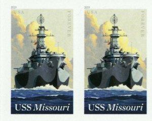 5392a, USS Missouri RARE Imperforate Pair Major Error With PSE - Stuart Katz