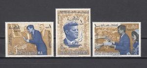 Ras Al Khaima, Mi cat. 9-11 A. President Kennedy & Space issue.