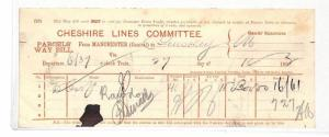 BC111 1892 GB RAILWAY *Cheshire Lines Committee* RED PRINT Parcel Way Bill
