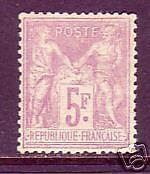 France Sc 96b MLH. 1877 5fr red lilac on lavender Peace & Commerce VF