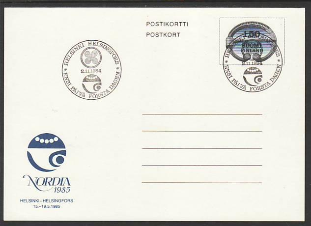 Finland Nordia 1985 Postal Card FDC VF