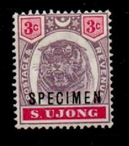 MALAYA SUNGEI UJONG SG55s 1895 3c DULL PURPLE & CARMINE SPECIMEN MTD MINT