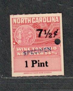 North Carolina State Revenue Stamp Sc#w55s Wine