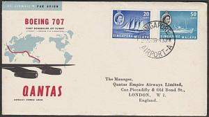 SINGAPORE 1959 Qantas first flight cover to London.........................29002