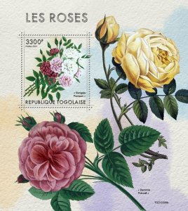 TOGO - 2021 - Roses - Perf Souv Sheet - Mint Never Hinged