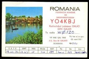 QSL QSO RADIO CARD YO4KBJ,Photo of Lake/Houses/Judetean Galati, Romania(Q3676)