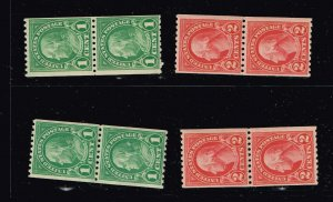 US STAMP #604, 606 Series of 1923-26 1, 2¢ coil MNH/OG PAIR STAMPS LOT
