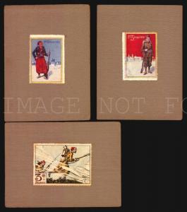 lot of 3 military poster stamps cinderella  France WWI Zouave Art Nouveau design