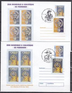Romania, 2001 issue. 12/OCT/01. 2 Scout Cancel on Postal Envelopes. .^